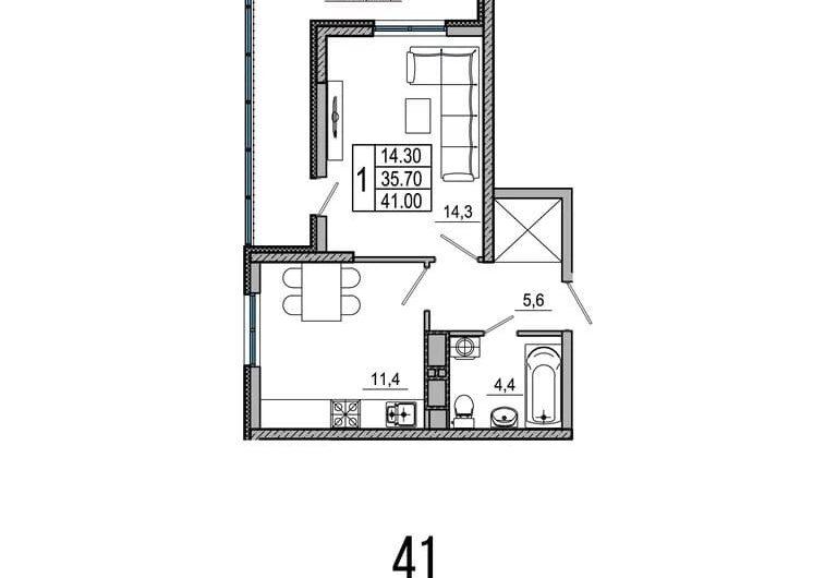 Квартира в ЖК ОБЛАКА